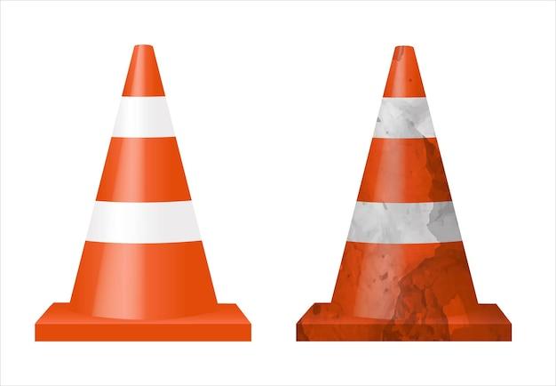 Dois cones de sinal isolado fundo branco