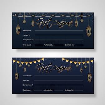 Dois conjuntos de design de cartão de certificado de presente com decoração de ouro