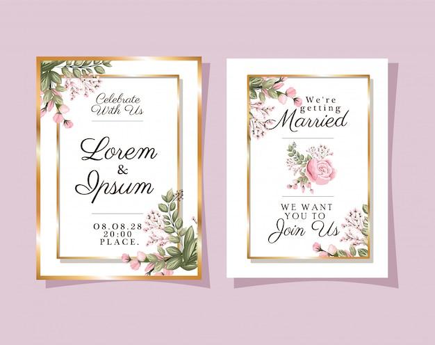 Dois convites de casamento com moldura dourada, flores e folhas rosa com desenho