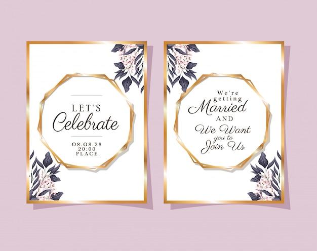 Dois convites de casamento com molduras de enfeite de ouro e botões de flores e folhas