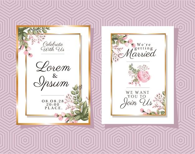 Dois convites de casamento com molduras de enfeite de ouro e flor rosa em fundo roxo