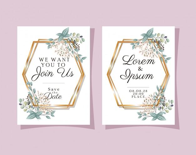 Dois convites de casamento com molduras douradas, flores e folhas de desenho