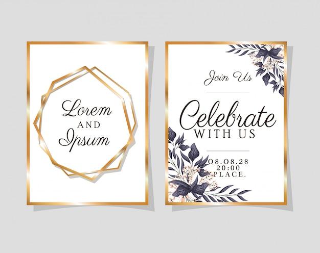 Dois convites de casamento com molduras douradas sobre fundo azul