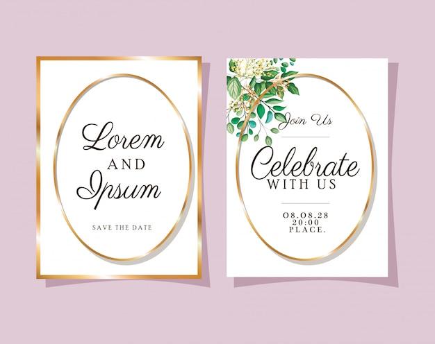 Dois convites de casamento com molduras douradas sobre fundo rosa