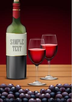 Dois copo de vinho e garrafas de champanhe