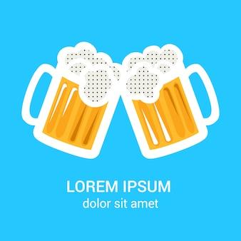 Dois copos de cerveja caneca poster