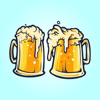 Dois copos de cerveja festa
