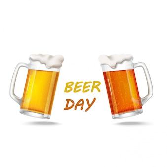 Dois copos de cerveja light