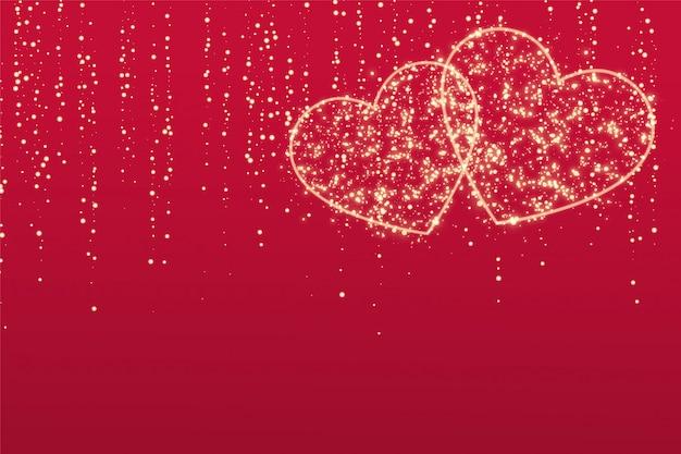 Dois corações de amor de brilho em fundo vermelho