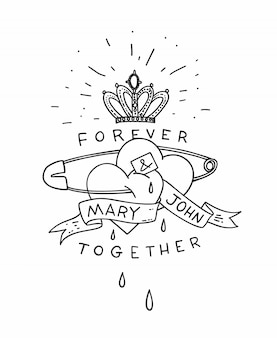 Dois corações em um pino inglês com coroa e fita no estilo de tatuagem da velha escola. cartão de mão desenhada poster vintage ar. ilustração.