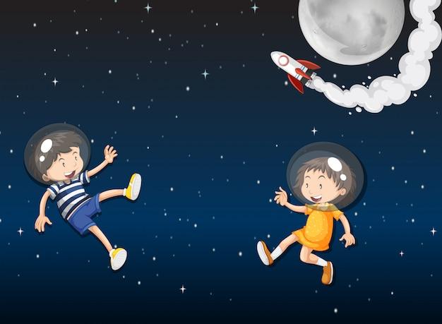 Dois, criança, astronautas, em, espaço