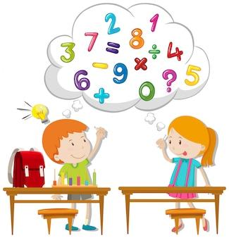 Dois, crianças, calculando, em, sala aula