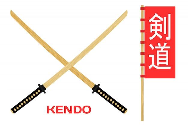 Dois cruzaram a espada de madeira do treinamento para o kendo.