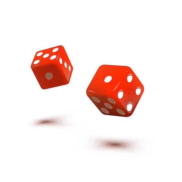 Dois cubos de dados vermelhos para jogos de azar caindo