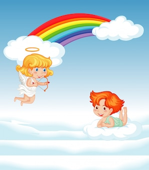 Dois cupidos voando no céu