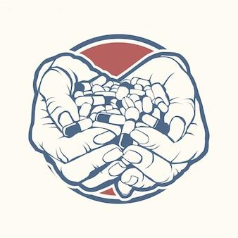 Dois, cupped, mãos, segurando, punhado, pilha, colorido, pílulas, tabuletas, medicina