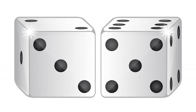 Dois dadinhos isolados sobre ilustração vetorial de fundo branco