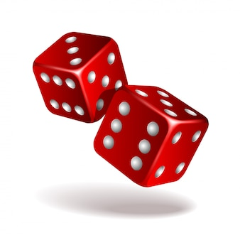 Dois dados de queda vermelhos no branco. conceito de modelo de jogo de cassino. ilustração