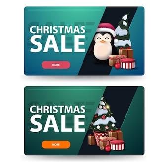 Dois descontos em banners de natal com árvore de natal em uma panela com presentes e pinguim com chapéu de papai noel