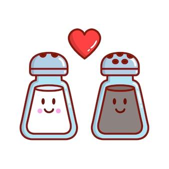 Dois desenhos animados de sal e pimenta apaixonados
