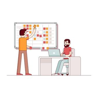 Dois desenvolvedores planejam seu trabalho
