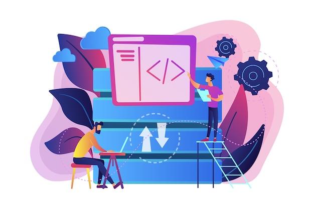 Dois desenvolvedores trabalhando com ilustração de tecnologia de big data