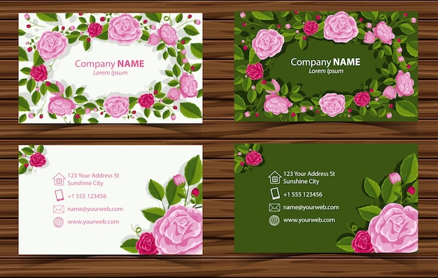 Dois design do businesscard com rosas cor-de-rosa