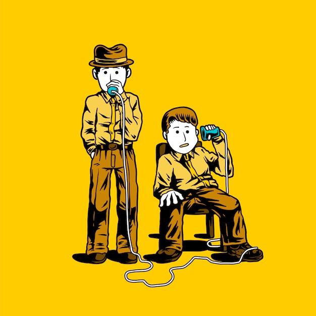 Dois, detetives, falando, através, copos, ilustração