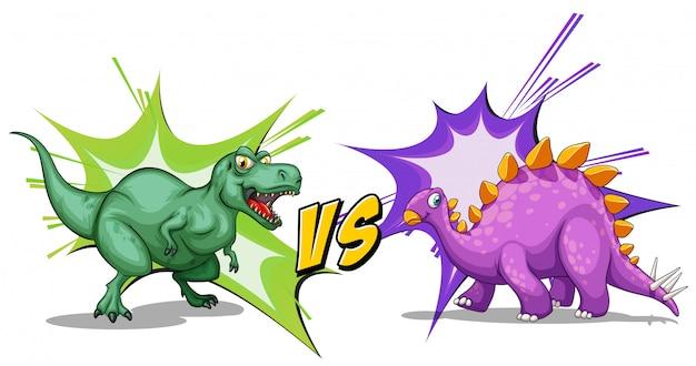 Dois dinossauros lutando entre si