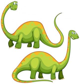 Dois dinossauros verdes sorrindo