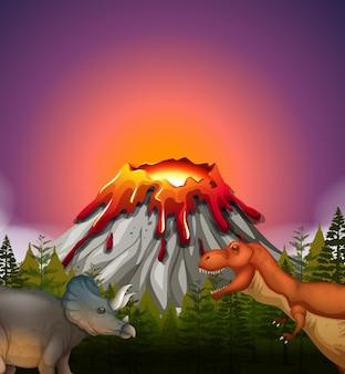 Dois dinossauros vivendo perto do vulcão