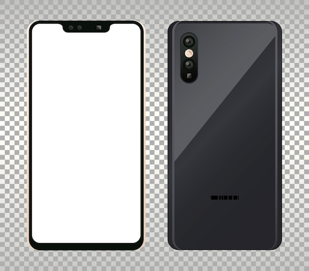 Dois dispositivos de maquete de smartphones.