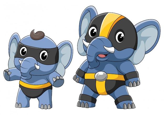 Dois elefantes em uma fantasia de super-herói de ilustração
