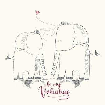 Dois elefantes enamorados, cartão de saudação do dia dos namorados e casamento
