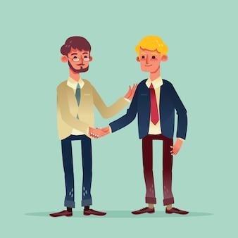 Dois empresário apertando as mãos cartoon ilustração