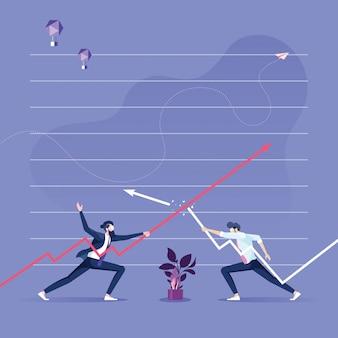Dois empresário manter as flechas uns contra os outros
