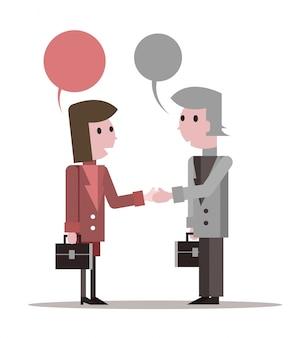 Dois empresários apertando as mãos e conversando. design de personagem plano. ilustração vetorial
