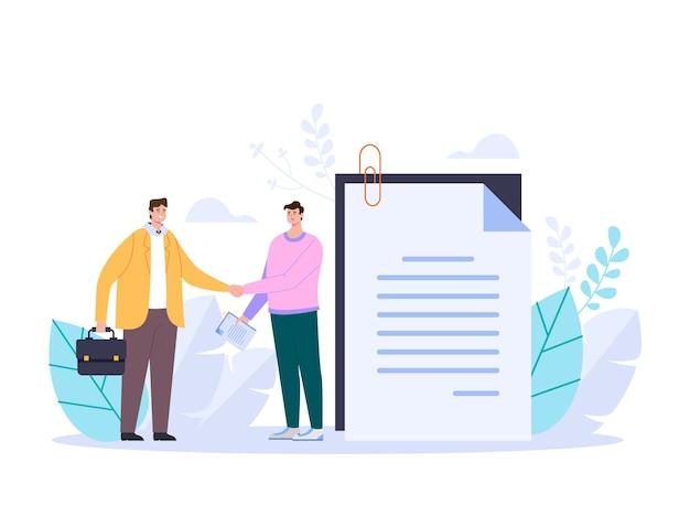 Dois empresários apertando as mãos e fazendo uma ilustração abstrata do negócio