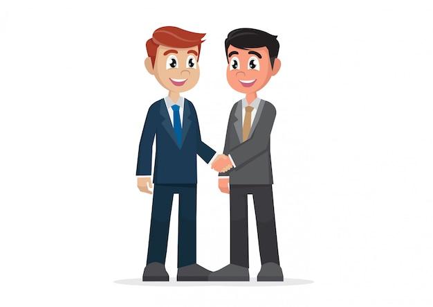 Dois empresários apertando as mãos.