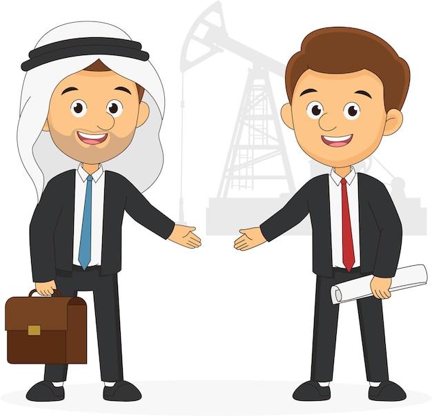 Dois empresários com conceito de comércio de petróleo