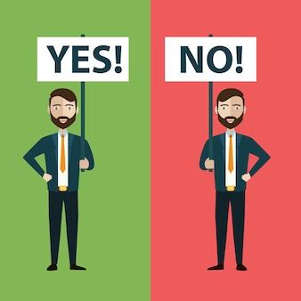 Dois empresários com sim e sem banners