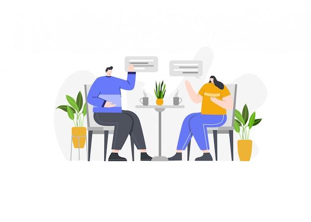 Dois empresários conversando na ilustração do conceito