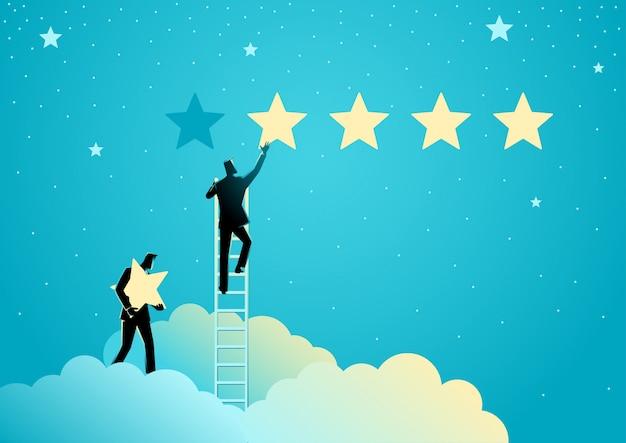 Dois empresários dando classificação de cinco estrelas