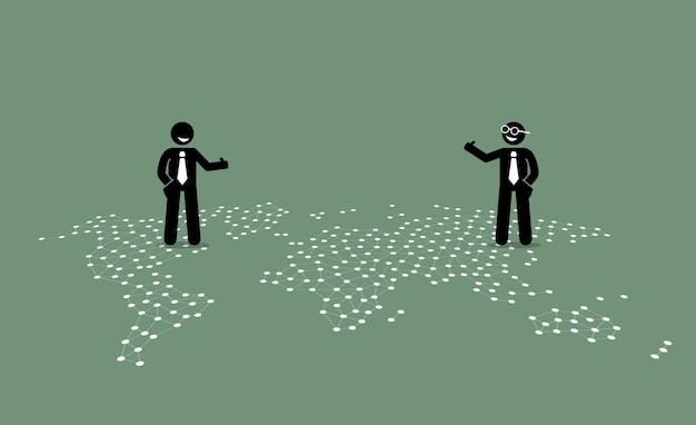 Dois empresários de diferentes países, dando o polegar um para o outro no topo de um mapa mundial.
