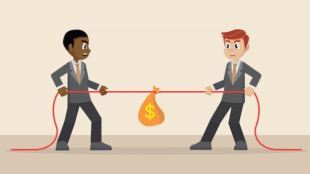 Dois empresários estão puxando a corda e saco de dinheiro.