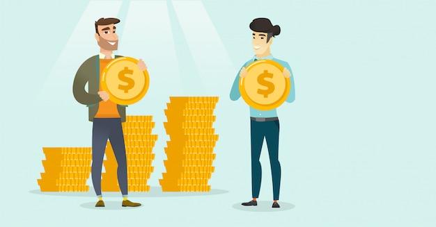 Dois empresários multiétnicas com moedas de dólar.