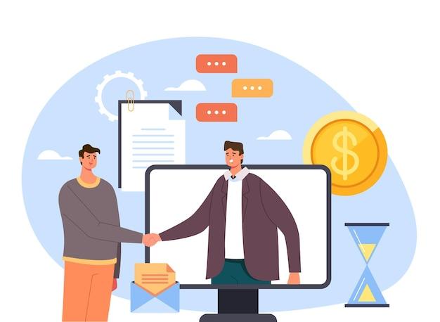 Dois empresários pessoa empresário pessoas escritório trabalhadores homens personagens apertando as mãos e fazendo acordo.