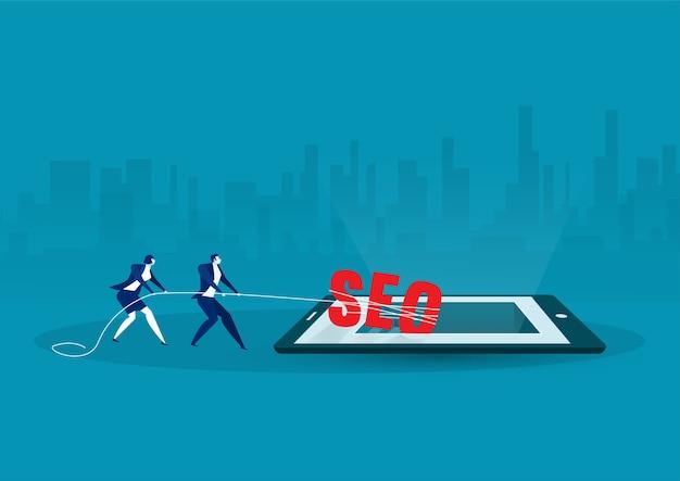 Dois empresários puxando corda amarrada a uma palavra grande seo no conceito de pesquisa de tablet. ilustração plana