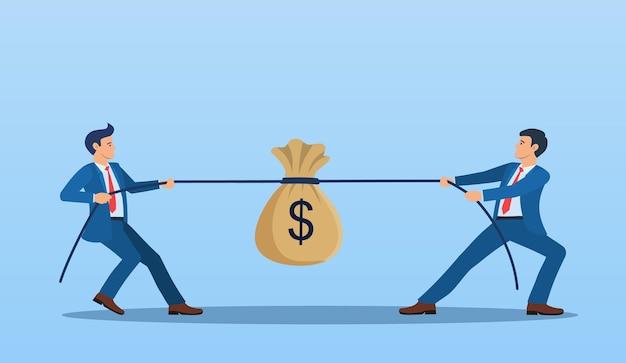 Dois empresários puxando pontas opostas da corda,