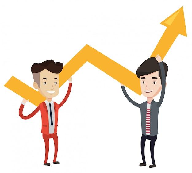 Dois empresários segurando o gráfico de crescimento.